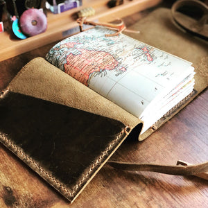 World map leather travel journal