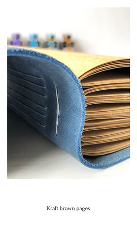 Blue leather book with brown paper pages