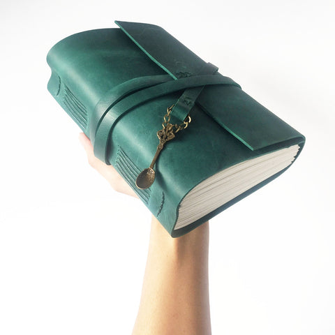 Emerald green personalised leather recipe book