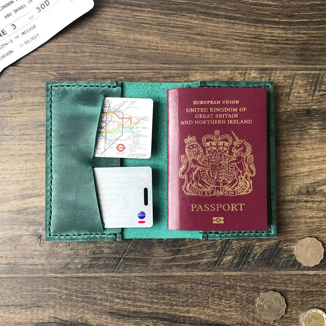 Emerald Green Leather Passport Cover