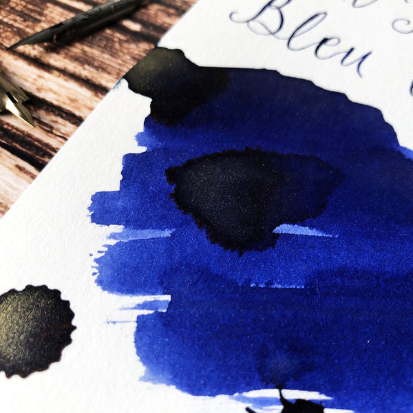 J Herbin Bleu Ocean close up ink swatch on Indigo Artisans Cartridge paper