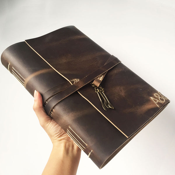 Large blank leather recipe book