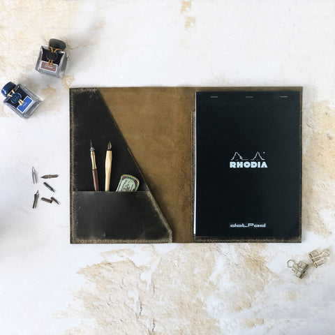 Custom A4 Leather Notebook Cover For Rhodia Head Stapled Notepads | A4 A5 A6