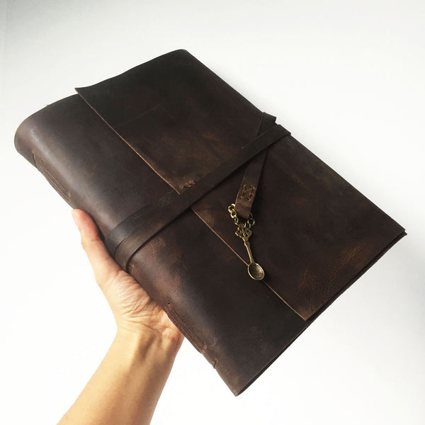 Extra large blank leather bound recipe book