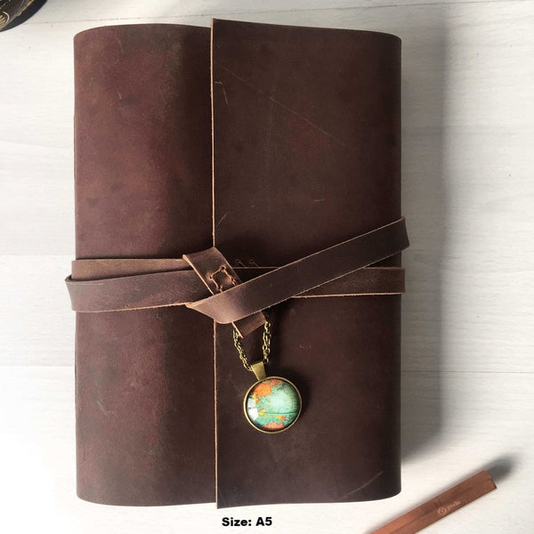 A5 brown leather journal with world globe charm