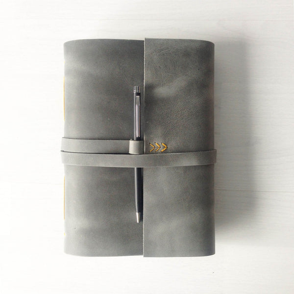 A5 grey leather sketchbook with pen loop and yellow stitching