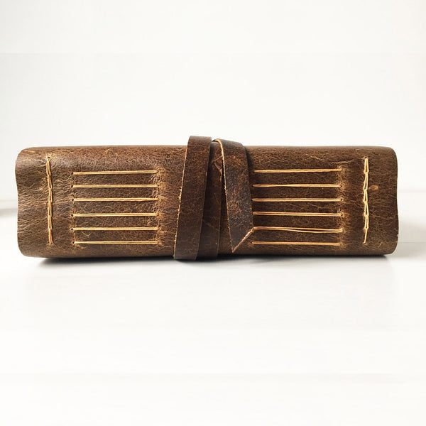 A5 large leather journal side spine view