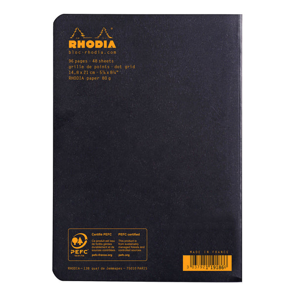 rhodia black a5 side stapled dot paper notebooks