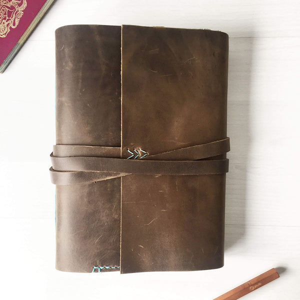 A5 brown leather travel journal front view