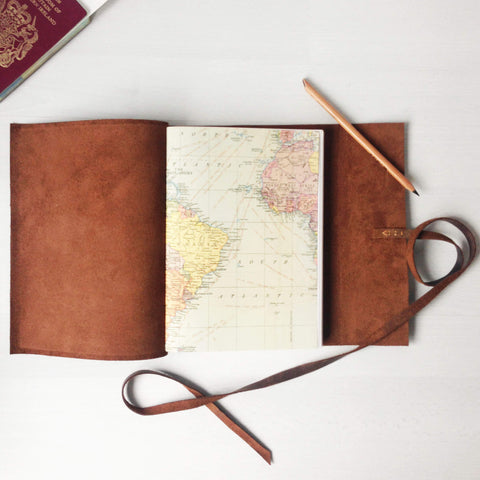 A5 vintage world map pages travel journal, open book view
