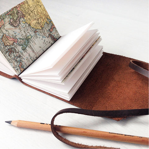A7 mini travelers notebook open pages with map