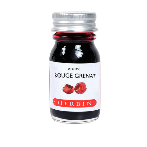 Herbin 10ml bottle of fountain pen and calligraphy dip pen ink in rouge grenat