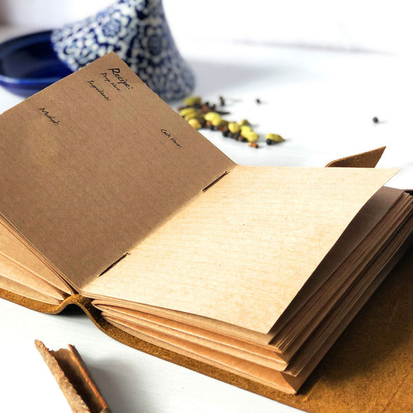 Personalised bank recipe book with kraft brown paper