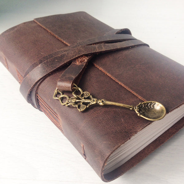 Blank recipe book A6 with bronze spoon charm