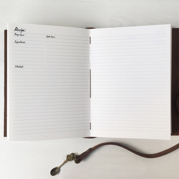 Blank recipe book inside lined pages layout