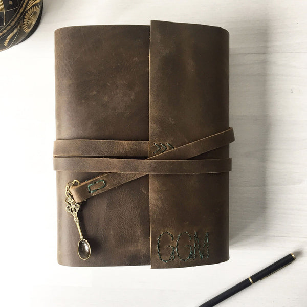 Blank recipe book with spoon charm, brown leather