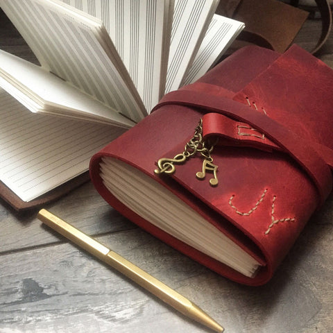 Personalised Red Leather Music composition notebook with musical notes charms