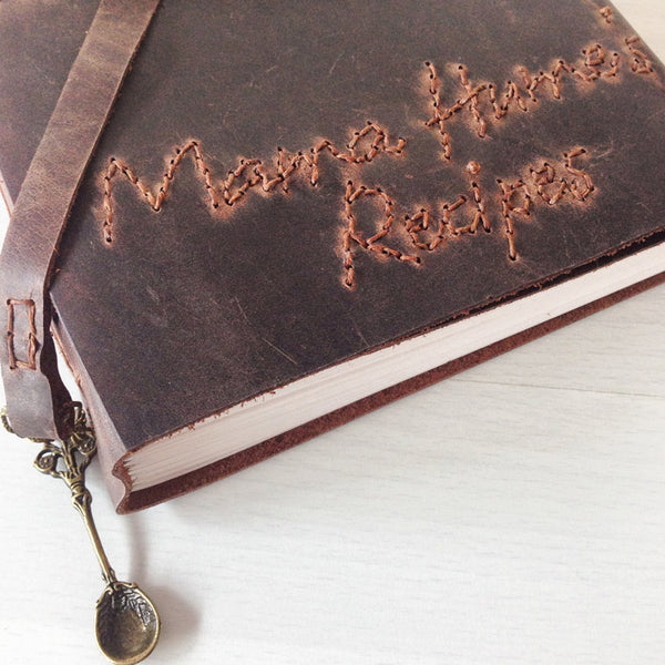 Brown leather Custom recipe book foodie gifts