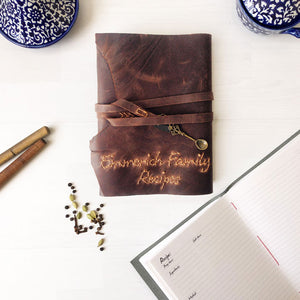 A5 custom recipe book with hand stitched family name, brown leather