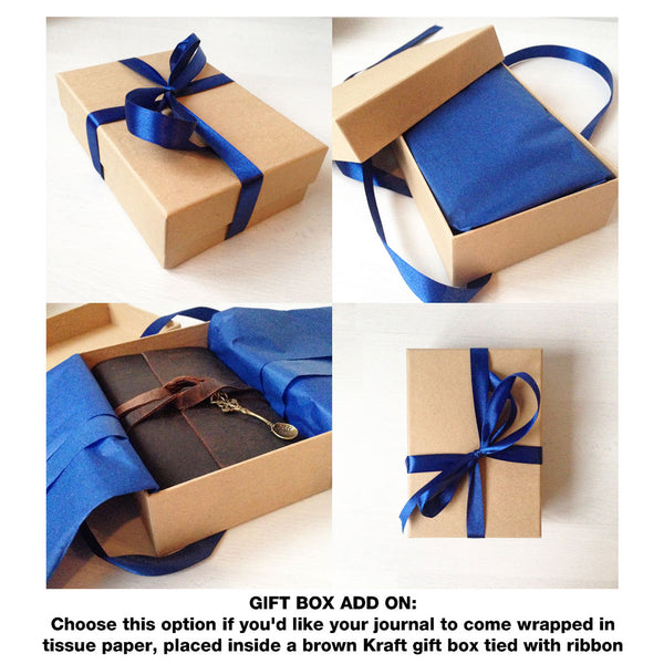 Kraft brown gift box add on, wrapping with blue tissue paper and ribbon tie, open and inside views