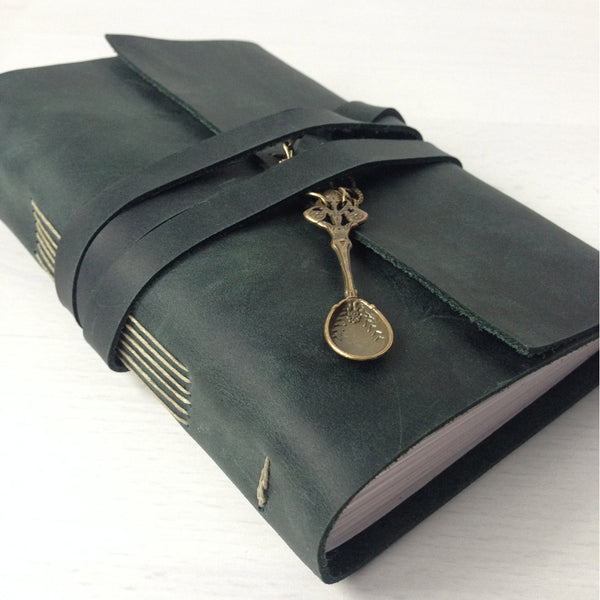 Gifts for chefs, forest green recipe book with spoon charm