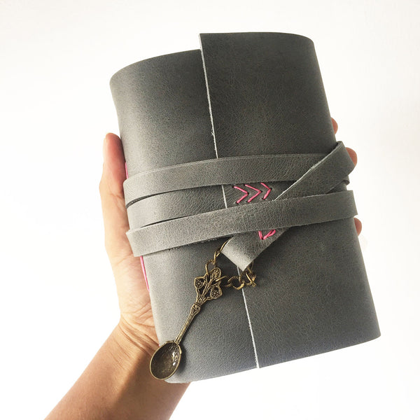 Gifts for foodies, grey leather recipe book front view