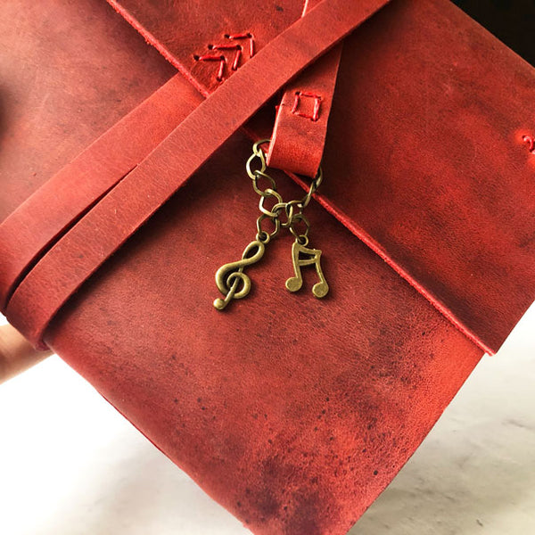 leather music journal with musical note charms