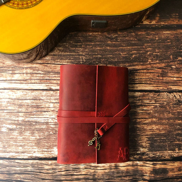 monogrammed custom made leather music writing journal
