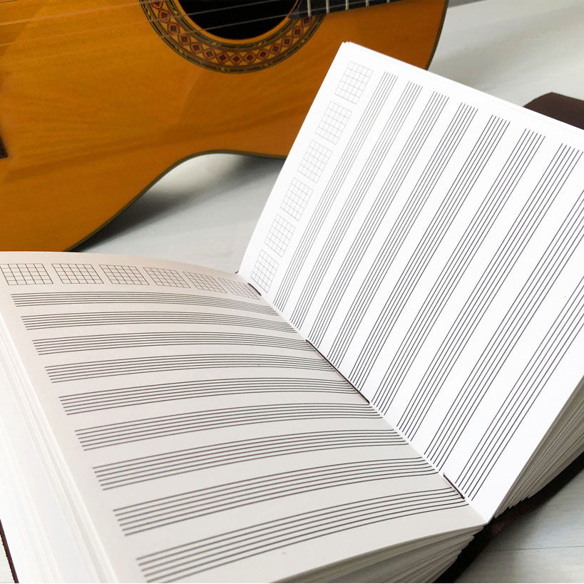 Leather Music Journal With Guitar Tab Notation Paper