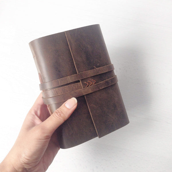 Hand holding an A6 brown leather notebook