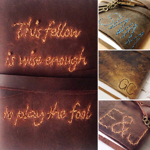 Hand stitched quotes on leather