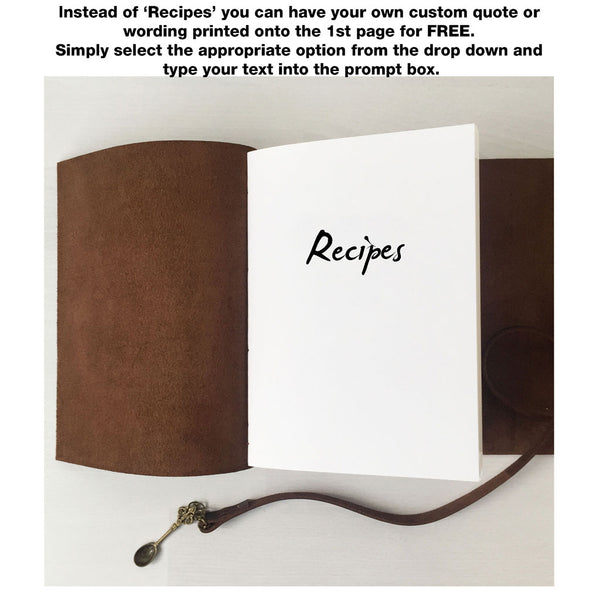 Custom recipe book personalised front page