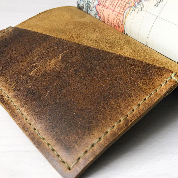 Leather journal front interior pocket