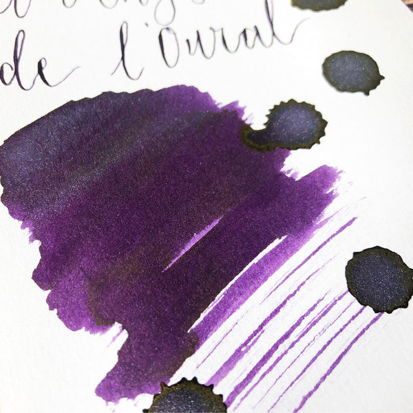 J Herbin Amethyste de l'Oural ink swatch close up on Indigo Artisans Cartridge paper