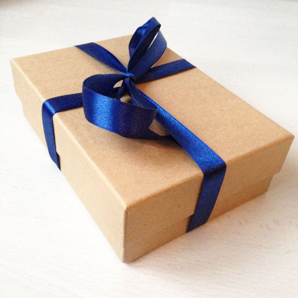 A6 Kraft brown gift box with ribbon tie
