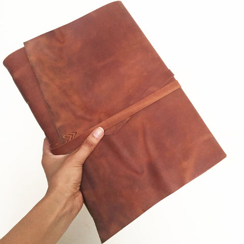 Large leather Journal, Sketchbook, A4