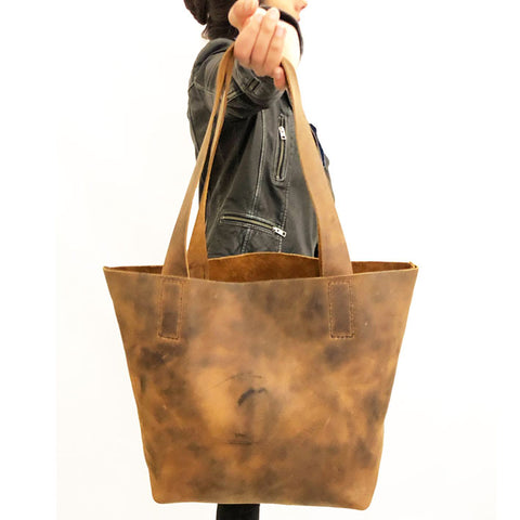 Handmade Leather Tote Bag | Leather Shopper Bag