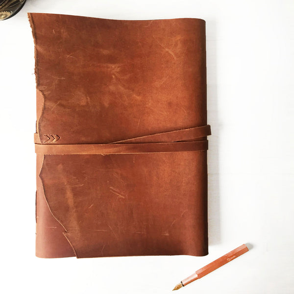 Large leather sketchbook tan leather