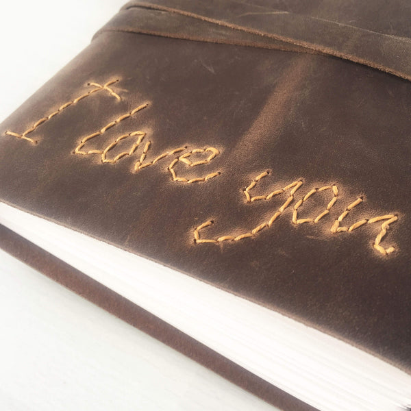 Custom journal with hand stitched I Love You cover, brown/butterscotch