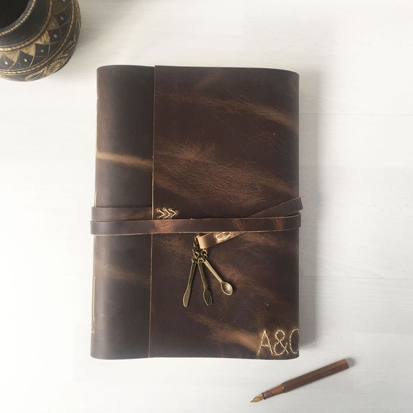 Large brown leather blank recipe book for writing in with monogram