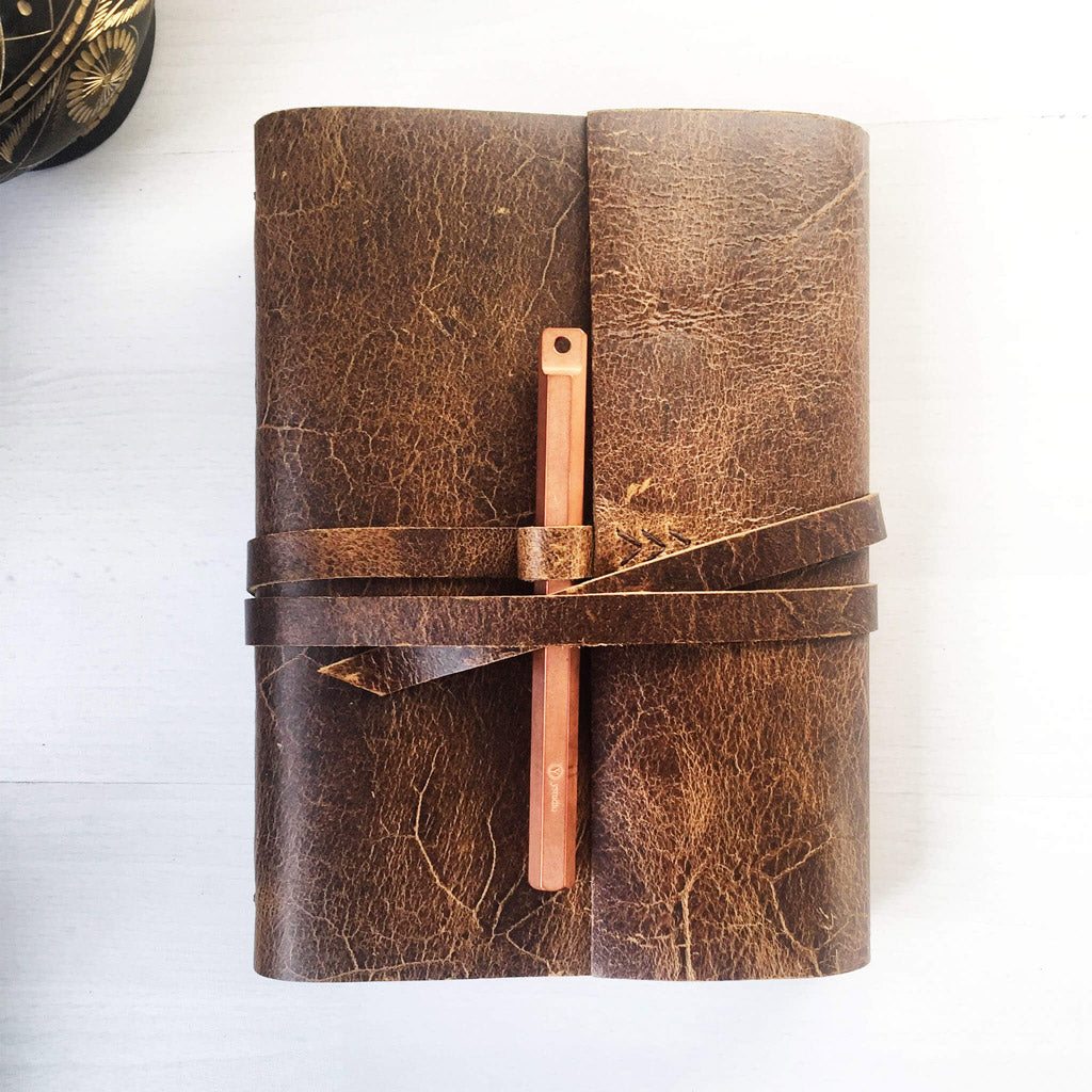 A5 leather bound journal with pen loop