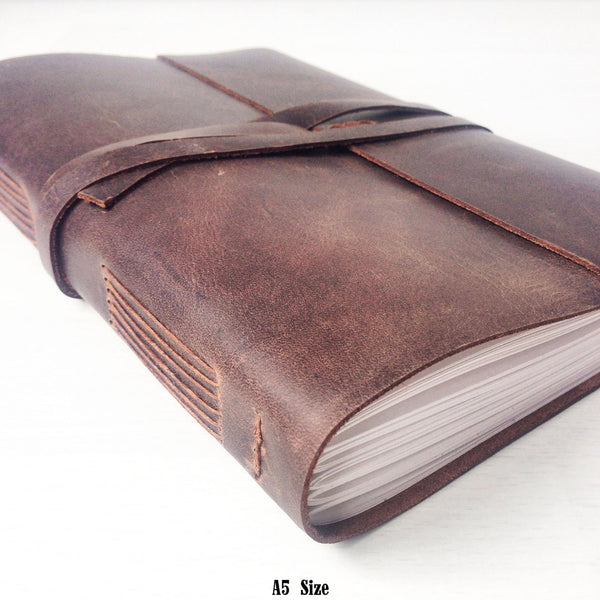 Handmade leather journal A5 brown leather