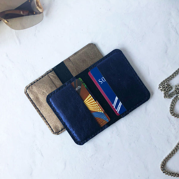 Leather credit card holder with card 4 slots