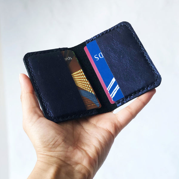 Leather credit card holder open