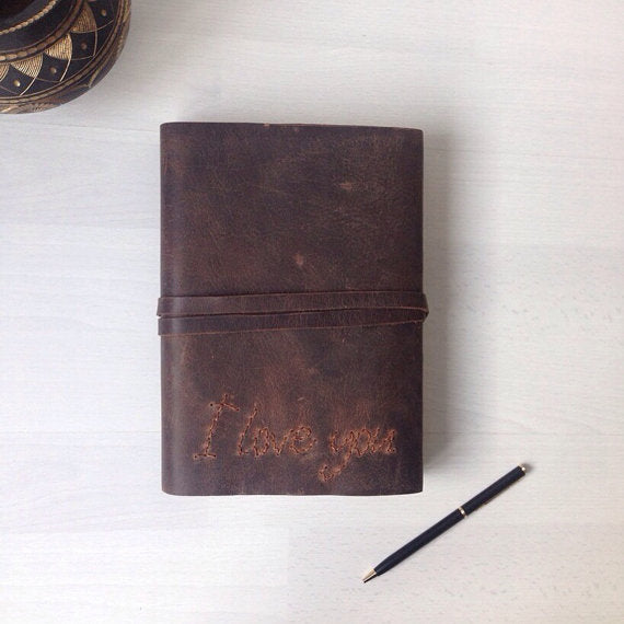 Leather journal with hand stitched I Love You cover, Brown