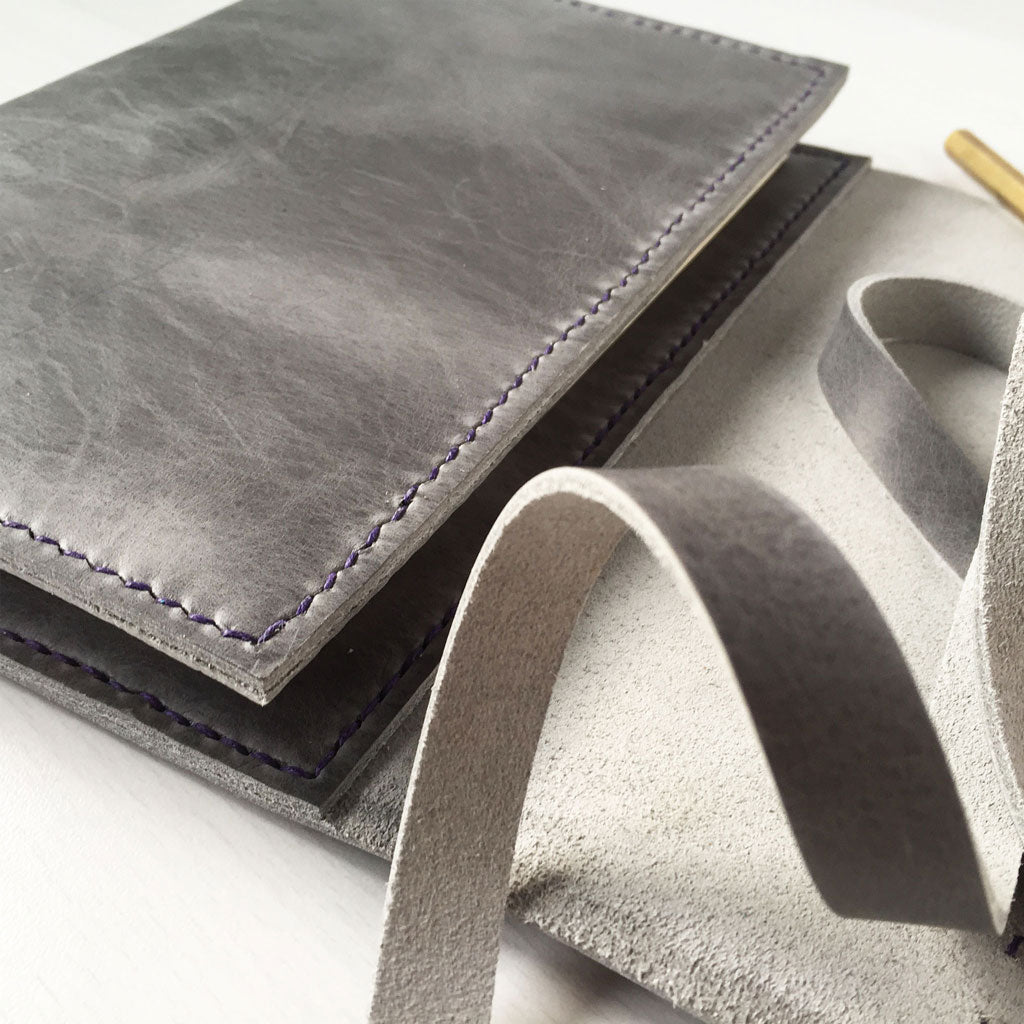 Grey leather journal cover side detail