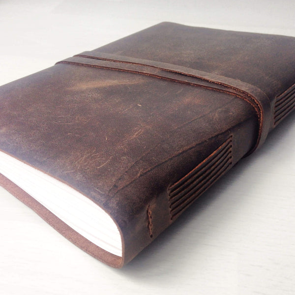 Leather notebook back view