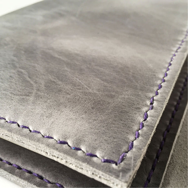 Hand stitched leather notebook cover detail