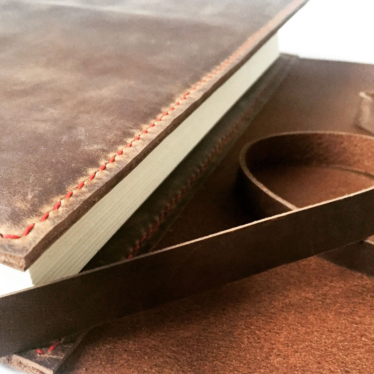 Hand saddle stitched leather notebook cover