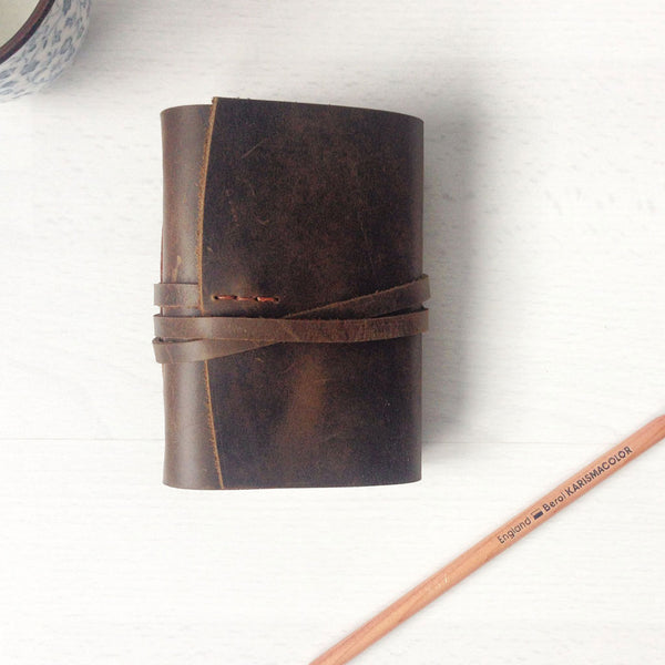 Leather pocket journal front